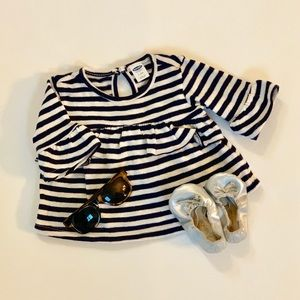 Old Navy Striped Trumpet Sleeve Knit Top